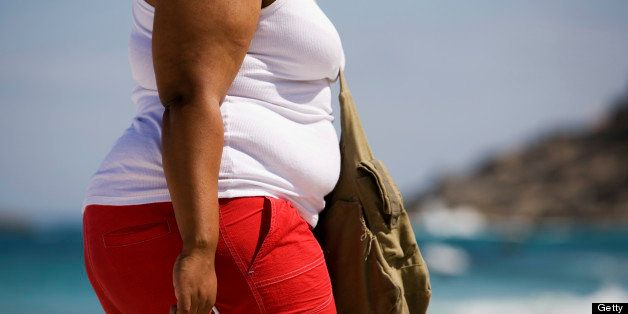 Overweight woman heads off to the beach.Camera: Canon 5D with L-series lens.