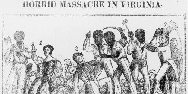 An engraving depicting the Horrid Massacre in Virginia during Nat Turner's Rebellion circa 1831. Black Males are seen Attacki