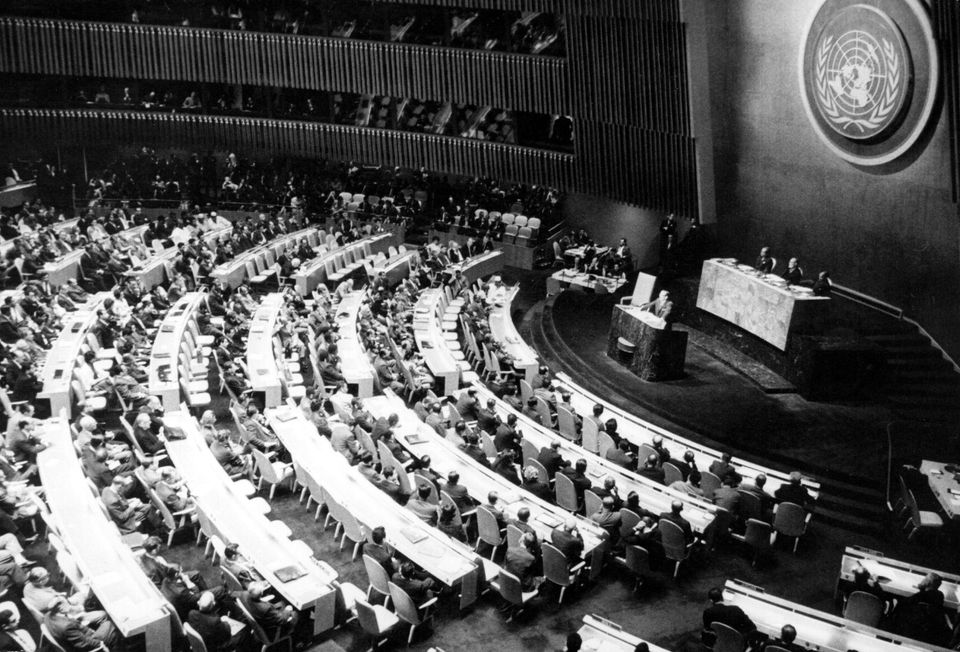 Cuba's President of the Republic, Osvaldo Dorticos Torrado, addresses the United Nations General Assembly to denounce U.S. ag