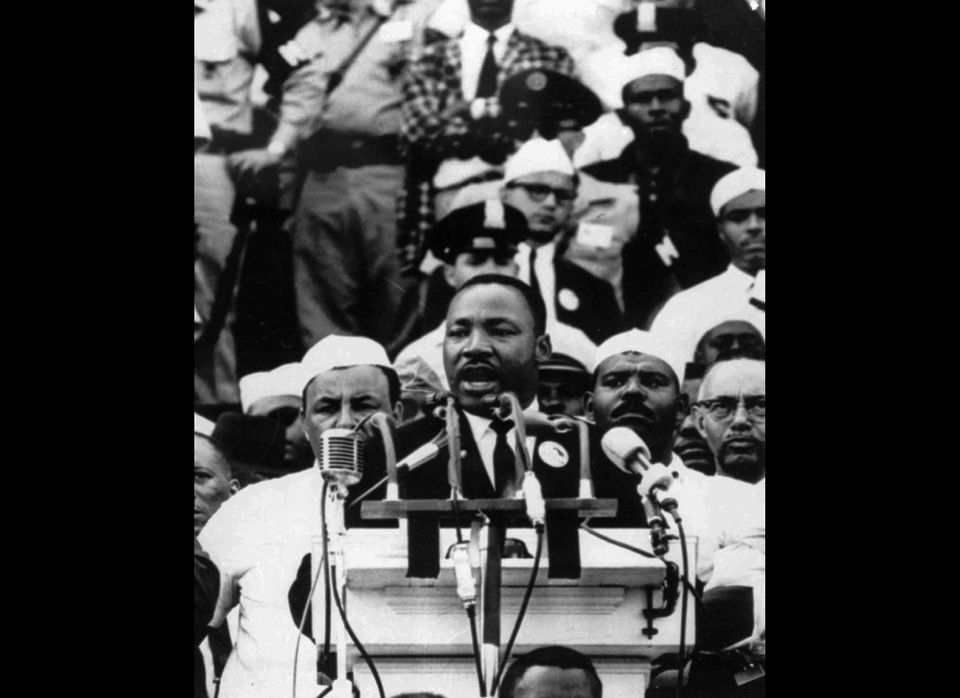 In this Aug. 28, 1963 file photo, Dr. Martin Luther King Jr., head of the Southern Christian Leadership Conference, addresses