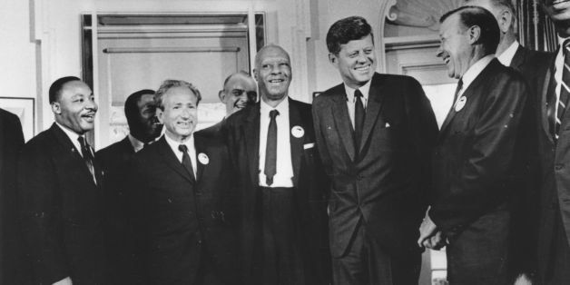 28th August 1963:  American president John F. Kennedy in the White House with leaders of the civil rights 'March on Washingto