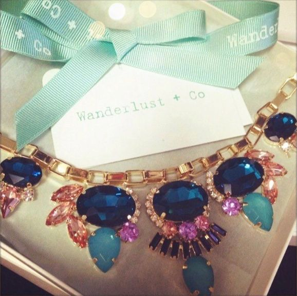 """To buy click <a href=""""http://www.wanderlustandco.com/collections/necklaces-newest/products/multi-gem-box-chain-necklace-3"""" ta"""