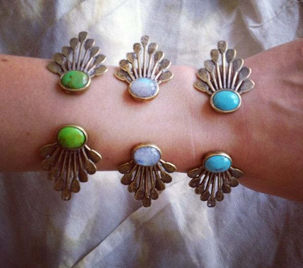 """To buy click <a href=""""http://the2bandits.com/collections/bracelets/products/canoe-paddle-open-cuff-silver-with-moonstone-rain"""