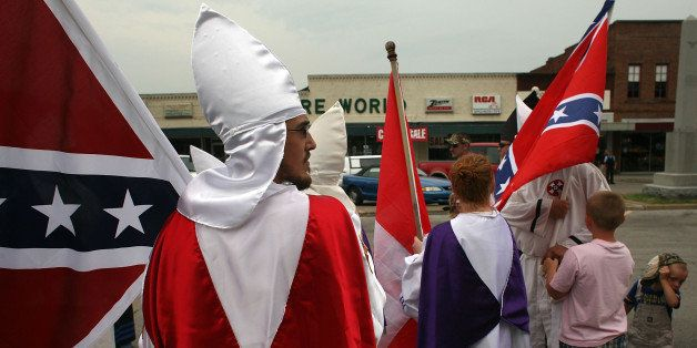 PULASKI, TN - JULY 11:  Members of the Fraternal White Knights of the Ku Klux Klan participate in the 11th Annual Nathan Bedf