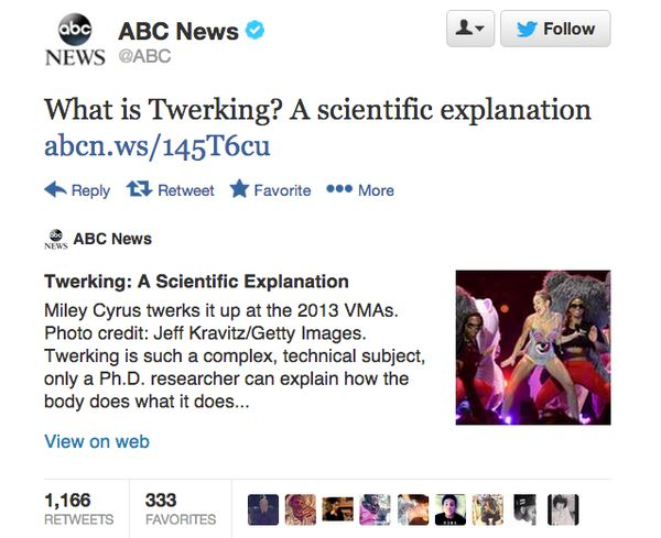 This tweet from ABC was a real story. Black twitter took notice, creating the hashtag #ABCReports making fun of the network f
