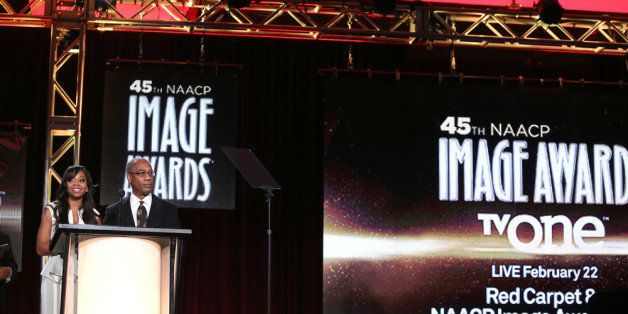 PASADENA, CA - JANUARY 09:  Actors Bresha Webb and Joe Morton speak onstage during the 'The 45th Annual NAACP Image Awards' n