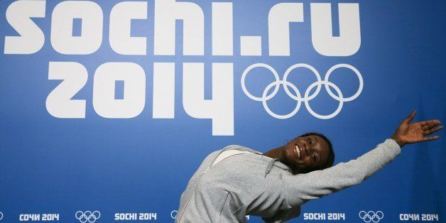 France's figure skater Mae-Berenice Meite poses during a press conference in Chekhov Hall at the Main Media Center in Sochi o