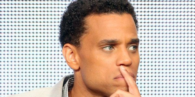 """BEVERLY HILLS, CA - AUGUST 01: Actor Michael Ealy speaks onstage during the """"Almost Human"""" panel discussion at the FOX portion of the 2013 Summer Television Critics Association tour - Day 9 at The Beverly Hilton Hotel on August 1, 2013 in Beverly Hills, California. (Photo by Frederick M. Brown/Getty Images)"""