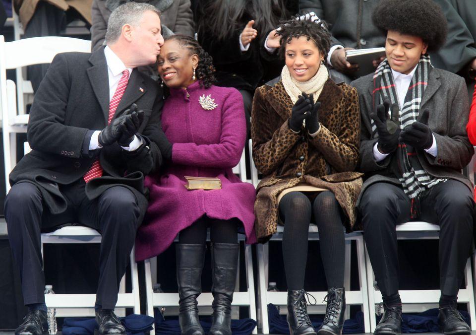 New York City Mayor Bill de Blasio and his wife of 20 years Chirlane McCray, with their children Dante and Chiara.