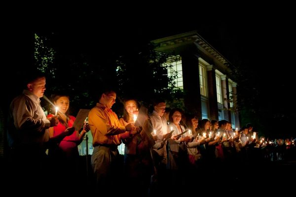 The students at this liberal arts college in Pennsylvania mark the Commencement by holding candlelit vigil the night before g