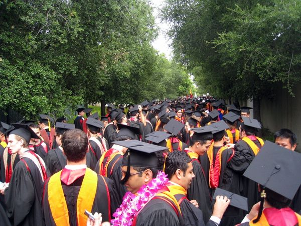 At Stanford, California, graduating students wear a lurid pink and orange stole instead of the traditional hood.