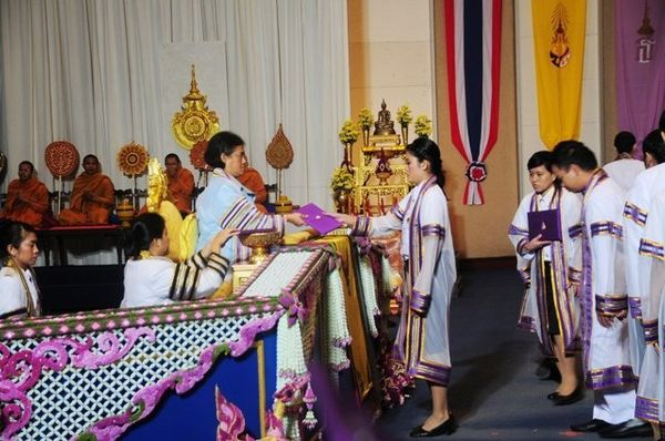 Princess Maha Chakri Sirindhorn presided over the university's ceremony.  For Thai government universities, the graduates wil