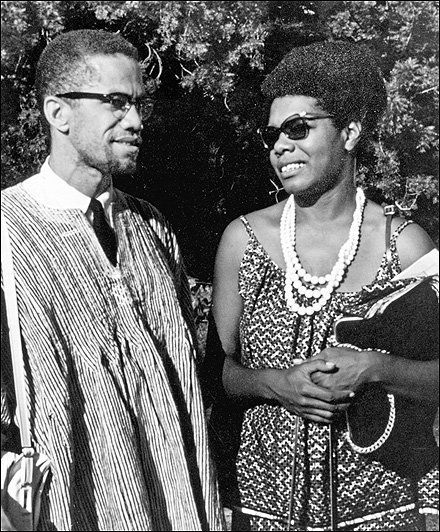 Maya Angelou with Malcolm X in Ghana, West Africa in 1964.