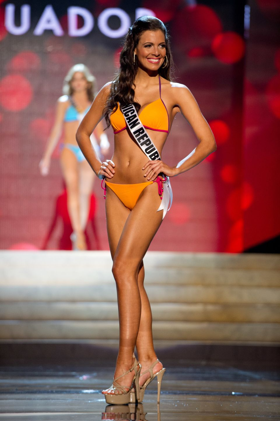 Miss Dominican Republic 2012, Dulcita Lieggi competes during the Swimsuit Competition of the 2012 Miss Universe Presentation