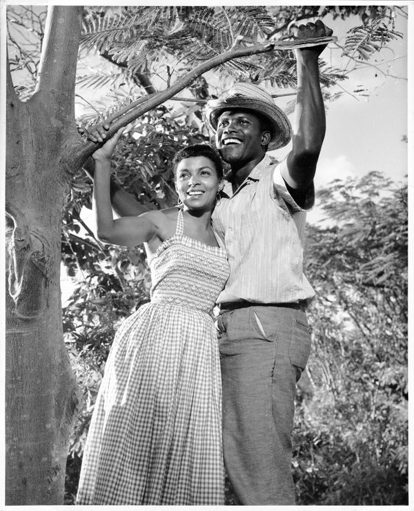 "Publicity still portrait of American actors Ruby Dee and Sidney Poitier in the film ""Virgin Island,"" 1958."