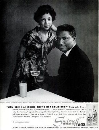 Ruby Dee and Ossie Davis in a 1960 advertisement for Smirnoff Vodka.