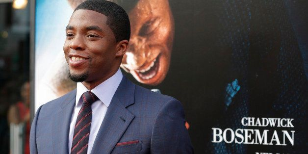 NEW YORK, NY - JULY 21:  Actor Chadwick Boseman attends the 'Get On Up' premiere at The Apollo Theater on July 21, 2014 in Ne
