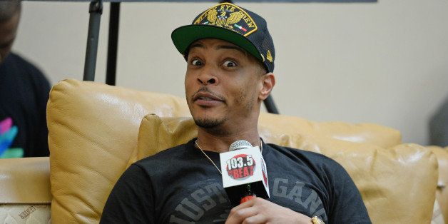 MIAMI, FL - AUGUST 14: T.I. visits radio station 103.5 The Beat on August 14, 2014 in Miami, Florida. (Photo by Larry Marano/
