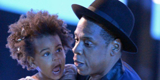 Blue Ivy Carter and Jay-Z appear on stage at the MTV Video Music Awards (VMA), August 24, 2014 at The Forum in Inglewood, Cal