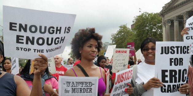 NEW YORK, UNITED STATES - AUGUST 24: People gather to protest the killing of Eric Garner in New York, United States, on Augus