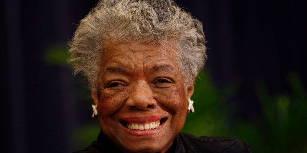 FILE - In this  Nov. 21, 2008 file photo, author Maya Angelou delivers a tribute to South African Archbishop Emeritus Desmond