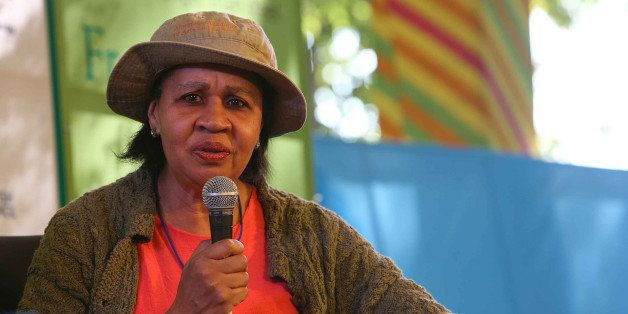 JAIPUR, INDIA - JANUARY 23: Jamaica Kincaid in the session 'The Art of the Short Story' during Jaipur Literature Festival 201