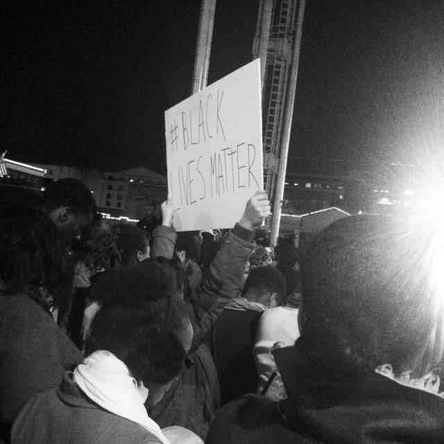 People protest the Darren Wilson Grand Jury decision in Atlanta, Georgia on November 25, 2014.