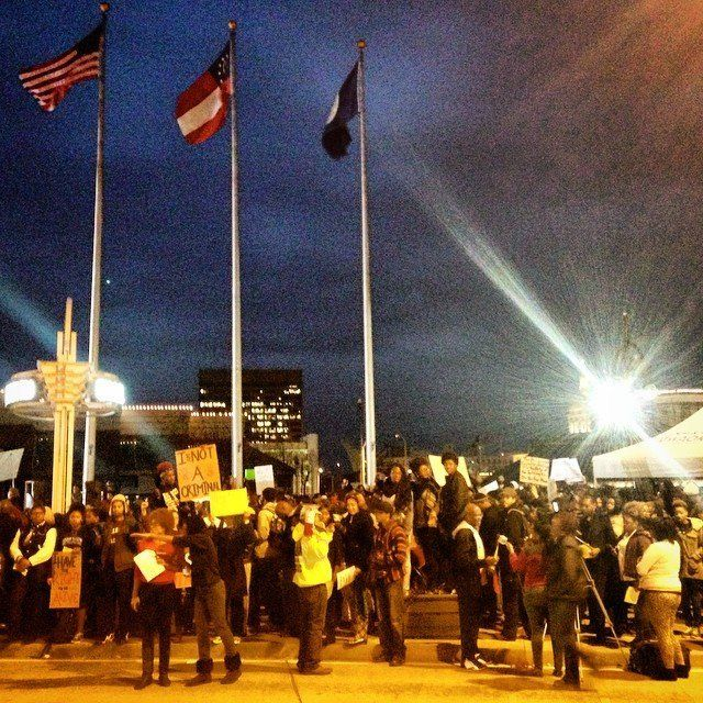 People protest the Darren Wilson Grand Jury decision in Atlanta, Georgia, on November 25, 2014.