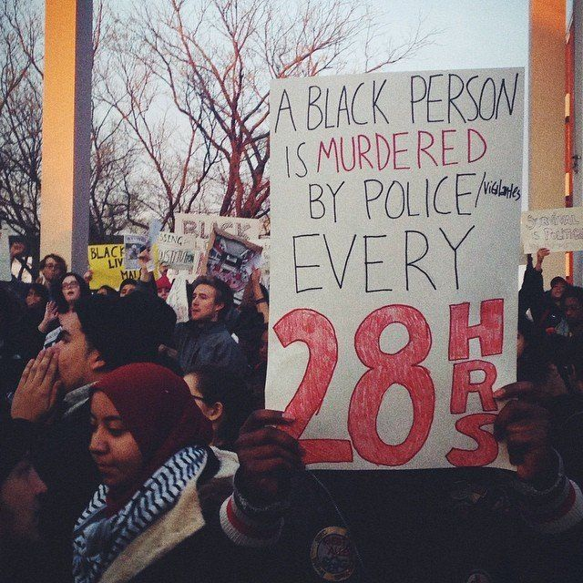 People protest the Darren Wilson Grand Jury decision in New Brunswick, NJ, on November 25, 2014.