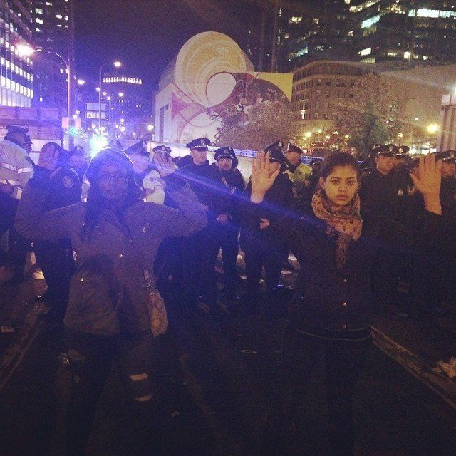 Peaceful protest in Boston, MA on Tues. Nov. 25, 2014.