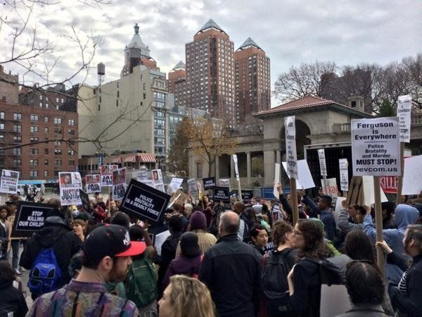 People protest at Union Square in New York City on Mon. Dec. 1, 2014.