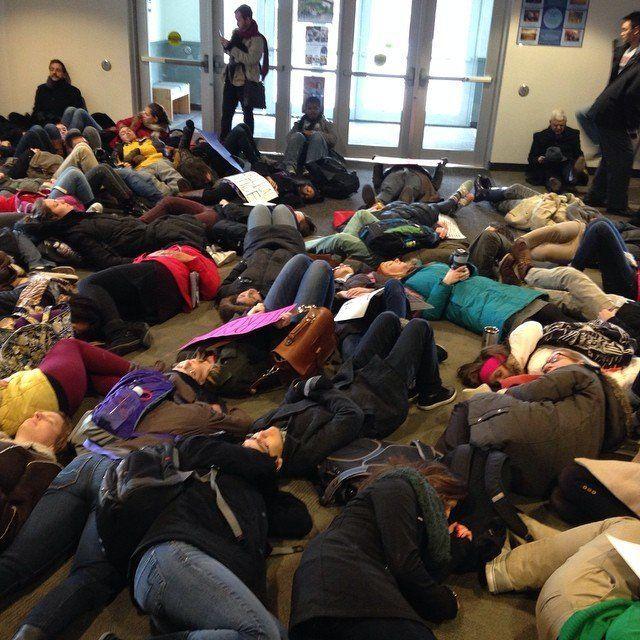 Wheaton College students participate in a walkout on Mon. Dec. 1, 2014.