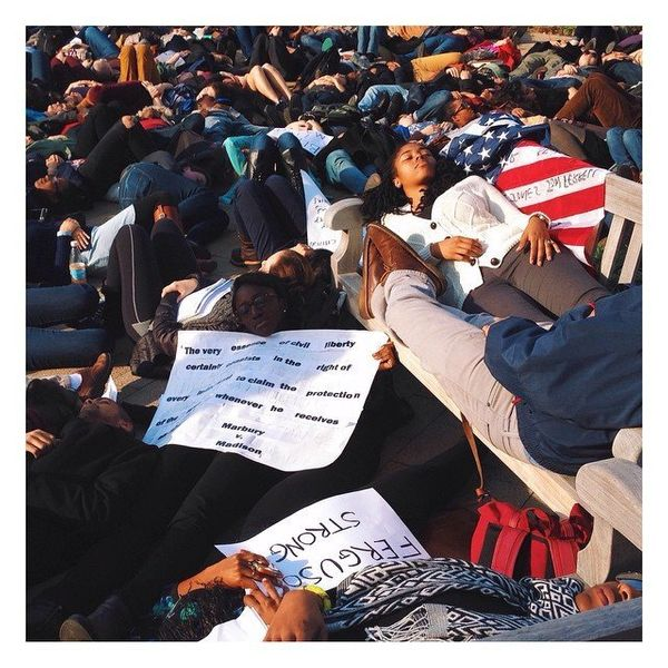 Die-in for Mike Brown at Harvard Law School on Dec. 1, 2014.