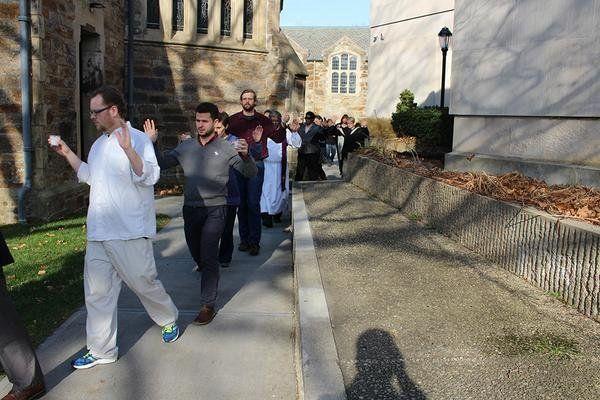 Episcopal Divinity School participates in a walkout in Cambridge, Massachusetts, on Mon. Dec. 1, 2014.