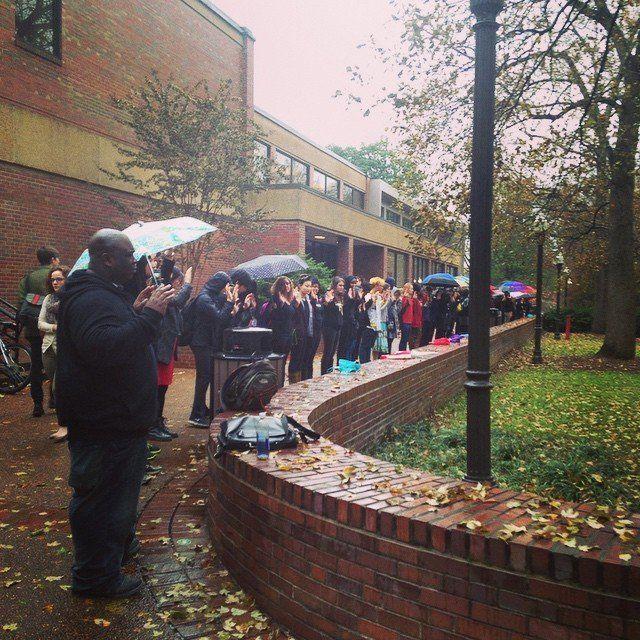 Vanderbilt University students participate in a walkout on Mon. Dec. 1, 2014.