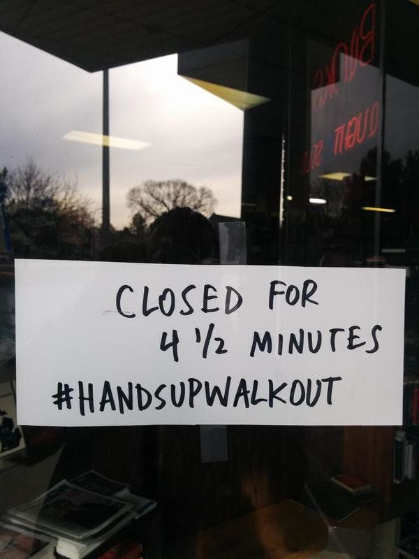 A store owner's sign in Ferndale, Michigan on Mon. Dec. 1, 2014.