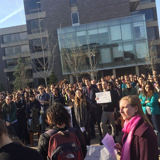 Students participate in a walkout at Harvard Law School on Mon. Dec. 1, 2014.