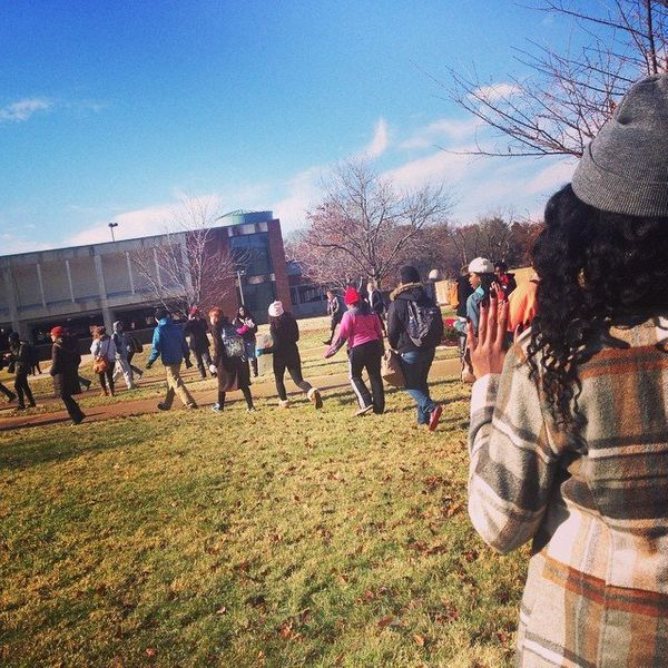 Students at University of Missouri St-Louis participate in a walkout on Mon. Dec. 1, 2014.