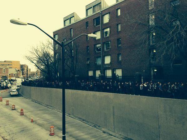 Protestors march toward Harvard Yard in Cambridge, Massachusetts on Dec. 1, 2014.