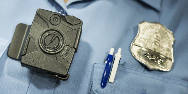 A body camera from Taser is seen during a press conference at City Hall September 24, 2014 in Washington, DC. The Washington,