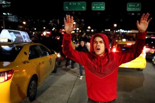 NEW YORK - DECEMBER 3: Protesters walk on the West Side Highway December 3, 2014 in New York. Protests began after a Grand Ju
