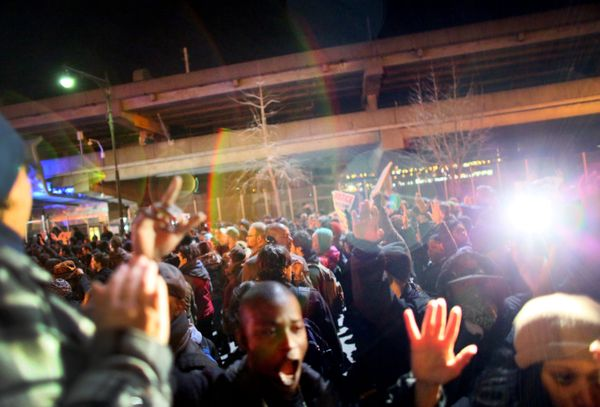NEW YORK - DECEMBER 3: Police clash with protesters on the West Side Highway December 3, 2014 in New York. Protests began aft