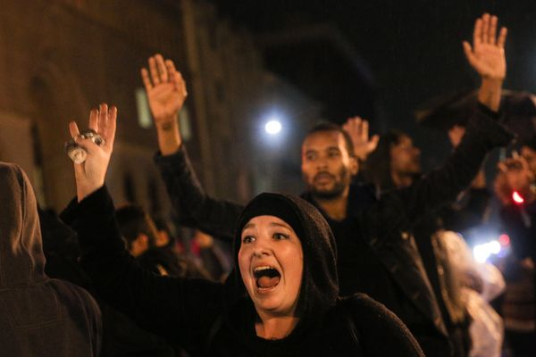 OAKLAND, CA - DECEMBER 3:  Protesters demonstrate following a Staten Island, New York grand jury's decision not to indict a p