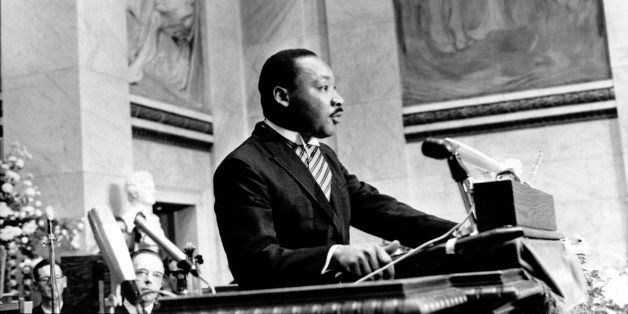 The Rev. Martin Luther King Jr., delivers his Nobel Peace Prize acceptance speech in the auditorium of Oslo University in Nor
