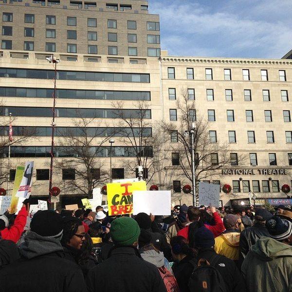 Protestors in Freedom Plaza in Washington, DC on Saturday Dec. 13, 2014.