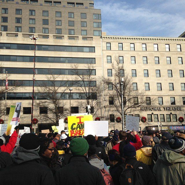 Protestors in Freedom Plaza in Washington, DC on Saturday Dec. 13, 2014.