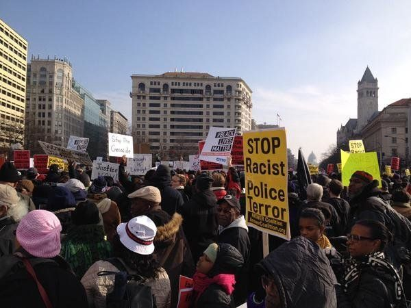Protestors in Freedom Plaza in Washington, DC on Saturday, Dec, 13, 2014.