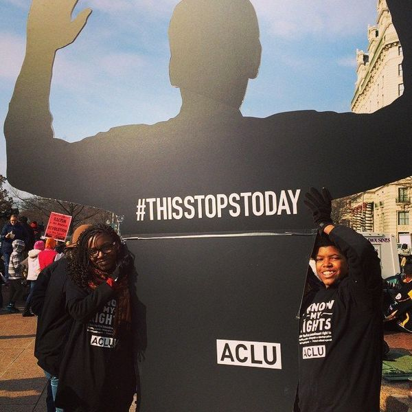 Protesters in Freedom Plaza in Washigton, DC on Saturday, Dec. 13, 2014.