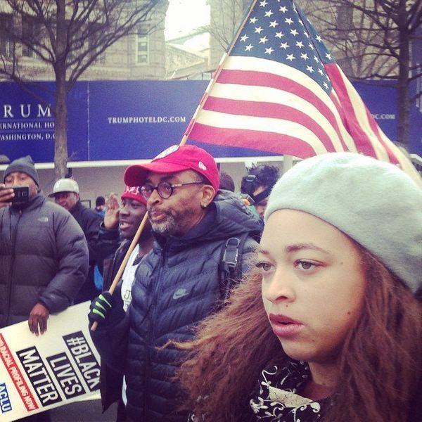 Filmmaker Spike Lee participates in a march in the U.S. Capitol building on Saturday, Dec. 13, 204 in Washington, DC.