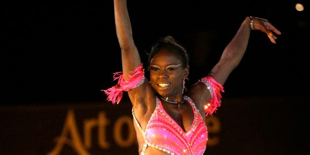 "French figure skater Surya Bonaly performs during the ""Art on Ice"" figure skating show, in Lausanne, Switzerland, Tuesday, Fe"
